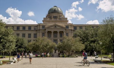 Front view of the Academic Plaza at Texas A&M University
